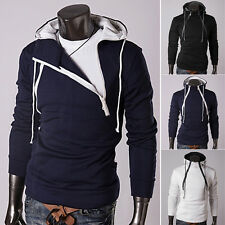 New Stylish Mens Casual Double Zipper Jackets Hooded Coat Outerwear Hoodies Tops