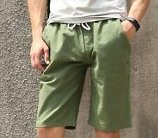 Mens summer linen blend breath casual shorts plus size pants colors