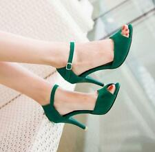 Womens New Ankle strap Buckle peep Toe Sandals stiletto heels formal work Shoes