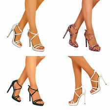 Womens Open Toe Strappy Stiletto Ladies High Heel Party Sandal Shoes Size