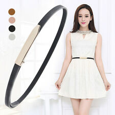 Women's Leather Belt Gold Smooth Long Buckle Magic Design Skinny Waist Belt
