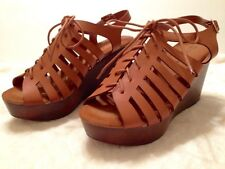 NEW Woman Ladies Faux Wood Wedge Platform Caged Lace Up Sandals Tan 5-7.5