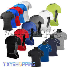 Mens Compression Body Thermal Under T-Shirts Tights Gear Muscle Workout Tee Tops