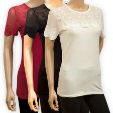 H&M Womens CASUAL White Red Black Lace Detail TOP Ladies Girls Stretchy T-SHIRT
