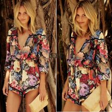 Fashion Women Summer Long Sleeve Floral Print  Beach Casual Mini Jumpsuit KECP
