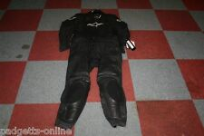 ALPINESTARS BLACK WHITE MENS TWO PIECE LEATHER MOTORCYCLE SUIT SIZE UK 52