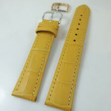 HQ 18/16 MM YELLOW  ITALY CROC GRAIN LEATHER WATCH BAND 18MM STRAP