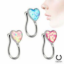 Noon Piercing Heart Nose Ring Clip Rhodium Plated with Glitter