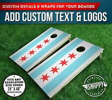 Cornhole Vinyl Decals, Bag Toss Board Wraps, CHICAGO FLAG Vinyl Wrap