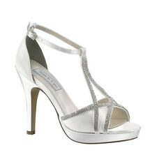 Dyeable White Satin Rhinestone Prom Bridesmaid Bridal High Heel Wedding Shoe