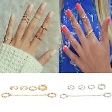 6pcs / Set Gold Urban Rings Crystal Above Knuckle stacking Band Midi Mid MDWK
