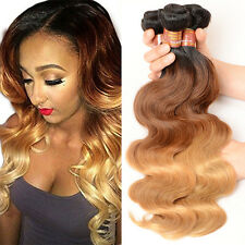 Ombre 3 Tone Brazilian Virgin Human Hair Extensions Body Wave Hair 100g/bundle