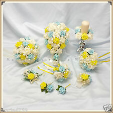 WEDDING FLOWERS PACKAGE BOUQUET BRIDE-BRIDESMAID-FLOWER GIRL, BLUE-YELLOW-IVORY