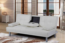 3 Seater Sofa Bed Modern Designer Cheap Recliner Faux Leather Sofabed Cupholder