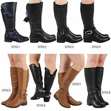Womens Mid Calf Leather Look Fashion Riding Boots Flats Buckle Biker Ladies Size