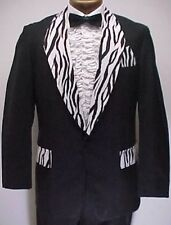 BLACK ZEBRA ANIMAL PRINT VINTAGE PROM TUXEDO SMOKING JACKET mens sizes 34 - 42