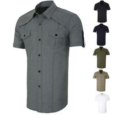 Stylish Mens Short sleeve Button Down Military Shirts Tops Casual Dress Shirt