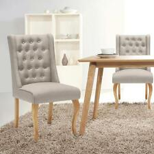 Linen Fabric Tufted Dining Chairs Upholstered Side Accent Chairs Lounge I5J2