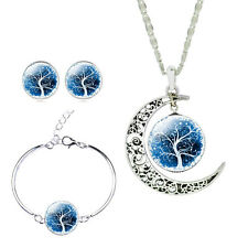 4PCS/Sets New Silver Jewelry Glass Cabochon Moon Necklace Earrings Bangle Set