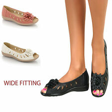 Ladies Flower Flat Comfort Sandals Casual Evening Wide Fit Peep Toe Low Wedge
