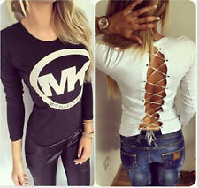 New Womens Loose Long Sleeve Sexy Slim T Shirt Casual Blouse Ladys Tops UK 6-14