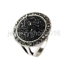 Male Jewelry Antique Round Ring Black Crystal Fashion Alloy Mens Ring