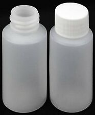 1 oz  HDPE Cylinder Round Plastic Bottles w/Screw-On Caps (Lot of 25)