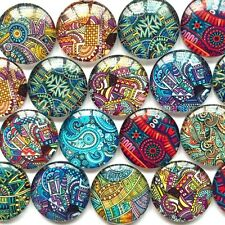 Flatback Round Photo Glass Cabochon Mixed Patterns10-16mm Cameo Jewelries 50pcs