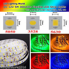 DC 12V 5M SMD 5050 3528 5630 Waterproof RGB LED Strip Lights Flexible LEDS Lamp