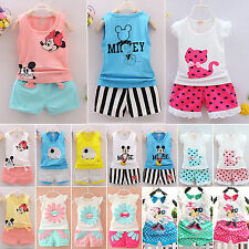 2Pcs Newborn Baby Girls Mickey Clothes T-shirts Vest Top+Pants Shorts Outfit Set