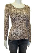 Ex M&S Heatgen Thermal Lightweight Long Sleeve Top - Brown Leopard Print UK 6