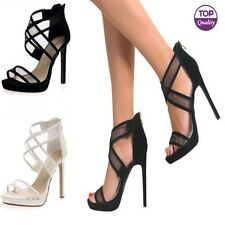 Ladies Womens High Heel Barely There Ankle Cross Strappy Party Shoes