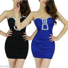 Strapless Womens Party Beaded Cocktail Evening Short Mini Bodycon Club Dress