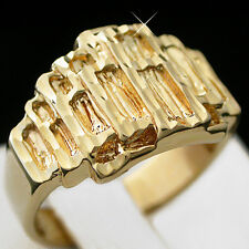 Mens 14mm wide DIAMOND CUT NUGGET 14k GOLD Layered Ring + LIFETIME GUARANTEE
