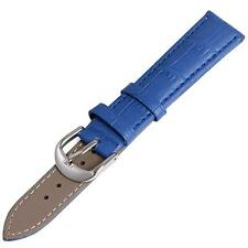 New 12mm 14mm 16mm 18mm 20mm 22 mm 24mm Blue Genuine Leather Watch Band Strap