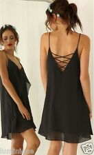 Tiered Chiffon Criss Cross Back Dress S 8 10 V Neck Cami Top Black Lined Party