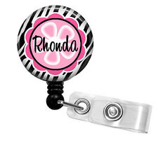 ZEBRA PINK FLOWER PERSONALIZED RETRACTABLE ID BADGE HOLDER OR LANYARD
