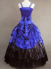 Sapphire Ruffled Satin Classic Elegant Lolita Dress #428 Costume Cosplay
