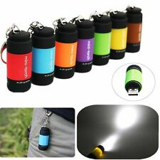 Mini Pocket Keychain Torch USB Rechargeable LED Light Flashlight Portable Safety