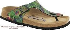 BIRKENSTOCK PAPILLIO GIZEH MULTICOLOR TROPICAL LEAF SOFT FOOTBED WOMEN'S SANDALS