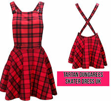 Ladies Womens Tartan Brace Pinafore Dungaree Short Mini Skater Skirt Dress 8-16