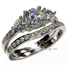 2pc Ring Set Engagement Wedding Band SOLID Sterling Silver & Cubic Zirconia CZ