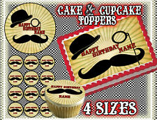 Mustache cake toppers Edible image FROSTING SHEET birthday paper saloon picture
