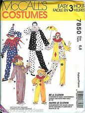 McCalls 7850 Clowns COSTUME pattern Adult Children UNCUT FF carnival party fair