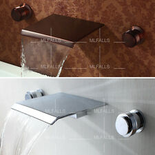 New Modern Brass Widespread Wall Mounted Waterfall Bathroom Sink Faucet Tap