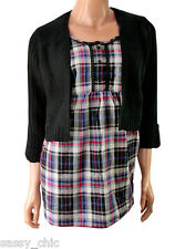 GEORGE Mock layer black cardi & check blouse top size 12 NEW (34)