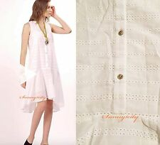 NWT Anthropologie Canterbury Dress by Maeve S, XL White Fun Eyelet Summer Dress