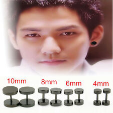 2pieces Round Barbell Stainless Steel Men Earring Punk Gothic Ear Studs 4 Sizes