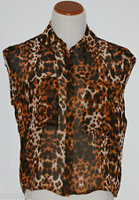 BISOU BISOU~Misses Brown/Black Animal Print Chiffon Blouse ~Size XS ~NWT