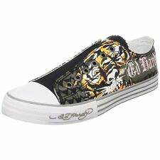 Ed Hardy LR-Ed Hardy Fashion Sneaker Shoes For Men Gray Canvas & Rubber Sole New